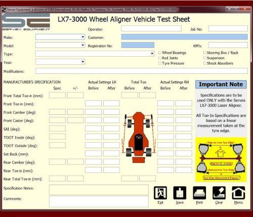 LX7-3000 Servex Wheel Aligner Vehicle Test Sheet